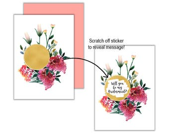 Gold Wild Flower Will You Be My?... Scratch Off Card, Will you be my Bridesmaid, Will you be my Maid of Honour, Scratch Off Greeting Card