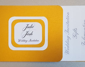 Handmade cheque book style wedding invitation SAMPLE, guests names inserted at no extra cost, comes with 2 envelopes.