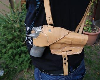 Tan Leather Horizontal Gun Shoulder Holster, Horizontal Gun Shoulder Holster for CZ 75
