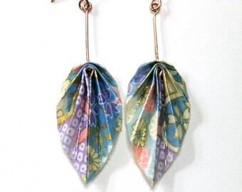Boucles d'oreilles pendantes en origami feuilles, magnifique papier japonais couleurs pastelles à motifs