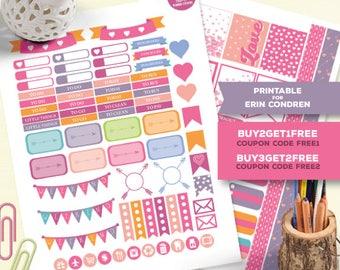 Heart Planner Stickers for Erin Condren, Printable Planner Stickers, Weekly Planner, Heart Stickers Kit, Love Planner Sticker