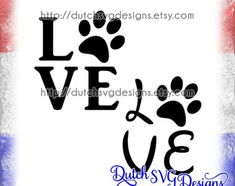 Cutting file Love with pawprint, in Jpg Png SVG EPS DXF, for Cricut & Silhouette, paw svg, pawprint svg, love svg, cricut svg, svg cut file