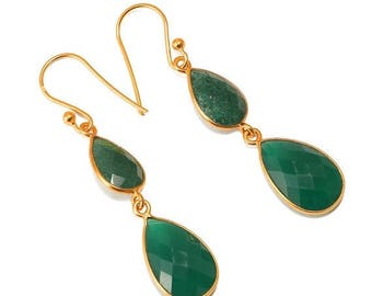 ON SALE Natural Aventurine and Green Onyx Handmade Dangle Earrings - 925 Sterling Silver 23k Micro Gold Plated
