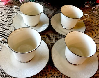 "Noritake ""Affection"" (4) Cup & Saucer Sets ~ Ivory China"