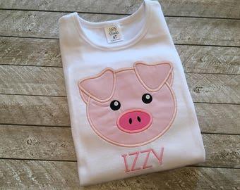 Boy or Girl Pig shirt-Pig applique shirt-Pig Birthday Shirt-Custom Pig Shirt- Farm Birthday shirt -Personalized farm birthday shirt