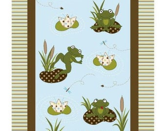 Flannel Panel, Flannel Fabric, Nursery Frog Pad, Pieced Flannel, Flannel quilt top, by Springs Creative, 11258
