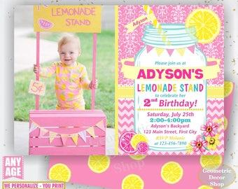 Pink Lemonade Stand Birthday Invitation, Lemonade Birthday, Mason Jar Invite, Pink Lemonade Printable Invite, DIY Printable invite BDL1