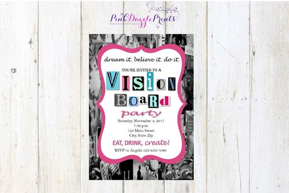 5x7 Printable Vision Board Party Invitation Digital file ONLY by