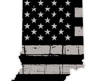 Indiana State (N15) Distressed Flag Vinyl Decal Sticker Car/Truck Laptop/Netbook Window