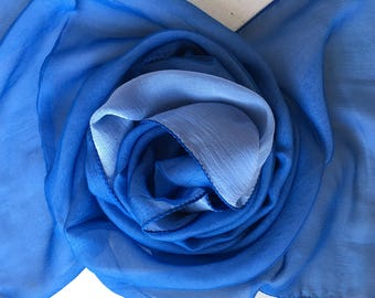 Rare 100% Silk Chiffon Scarf - Doubles (2 Different Colours Hand Sewn Together).  Blue and Light Blue. Unused and Perfect From 1970s Stock