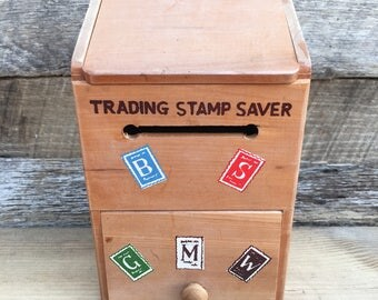 Vintage Trading Stamp Saver Box, 1950's S & H Green Stamps Box, Repurpose Vintage Box, Desk or Kitchen Organizer