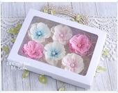 Set of 6 Handmade Foam Flowers, Made in UK, Cardmaking