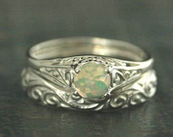 Opal Ring~Cinderella Ring~Rose Cut Opal~5mm Opal Ring~Welo Opal~Ethiopian Opal~White Opal~Filigree Ring~