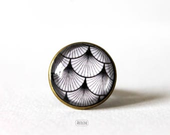 Ring cabochon 20mm Retro ° ° ° wave Vintage Japanese