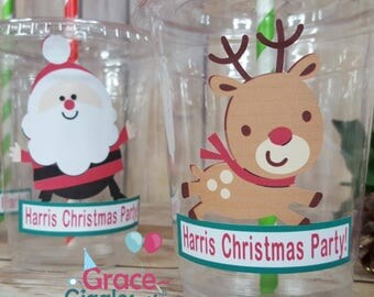 12 Personalized Christmas Themed Party Cups with lids and straws!