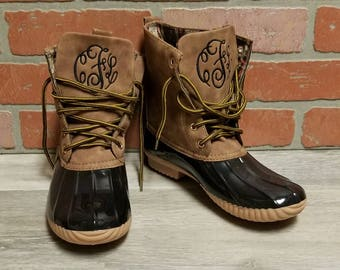 Personalized Black Duck Boots, Monogrammed Duck Boots