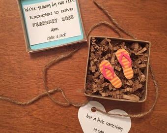 Flip Flop Summer Pregnancy Announcement, Growing by 2 feet, Pregnancy Reveal Gift, Pregnancy reveal to Grandparents