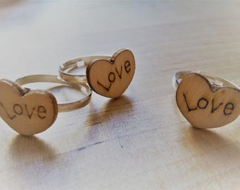 Love wooden ring