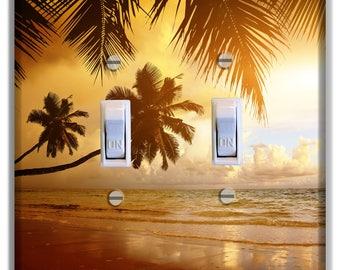 Palm Tree Sunset beach Light Switch Plate Cover Decor Bedroom Bathroom Beach House Print