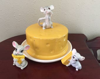 Vintage Covered Cheese Plate and Mice Figurines Retro Mouse Figurine
