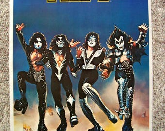 Rare KISS Destroyer poster - copyright 1976 Aucoin - Great condition