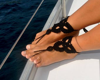 Black Barefoot Sandals, Crochet Barefoot Sandal, Summer Accessory, Beach Party, Boating, Foot Jewelry, Gift for Her