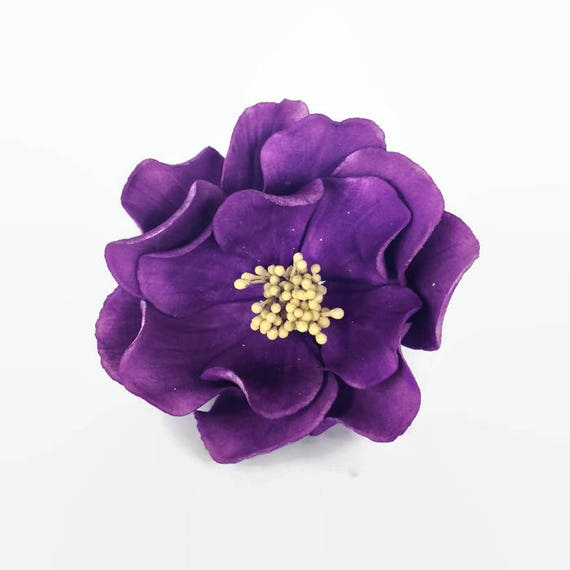 Open Rose Sugar Flower in Deep Purple with Yellow Center for wedding cake decorations, gumpaste flowers, cake toppers
