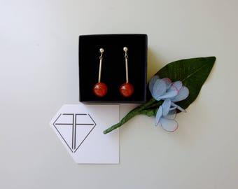 925 Silver earrings with carnelian stone