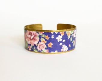 "Bracelet ethnic ""Garden""- medium blue - protected paper - brass"