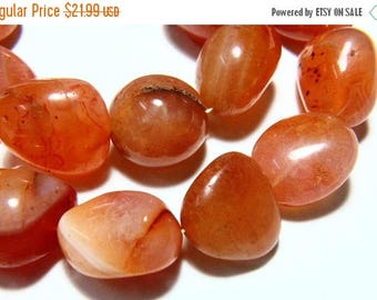 """65% OFF SALE 7"""" Full Strand Natural Carnelian Beads Smooth Nuggets , 13x15mm to 19x26mm Carnelian Tumble Drilled Gemstone Beads Stone Bead"""
