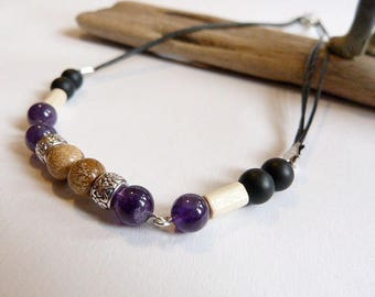 Men matte black onyx and amethyst and Jasper necklace with beach sand