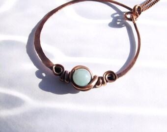 Necklace - amazonite stone pendant - Cooper