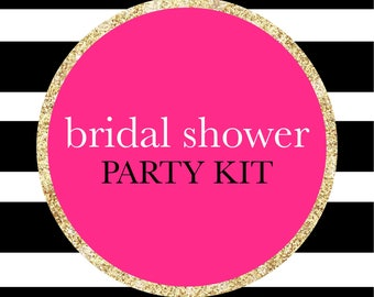 Pink, Black, White, and gold Bridal Shower Banner, Tassel Garland, Confetti, And Photo Booth Prop Party Kit Decorations
