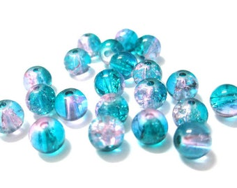 20 pink and blue 6mm Crackle glass beads