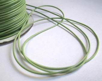 5 m thread cord pistachio green polyester waxed 1 mm