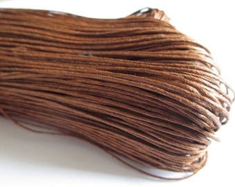 20 meters cotton chocolate brown waxed thread 1 mm