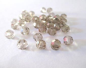 20 rondelle beads faceted grey glass 4mm