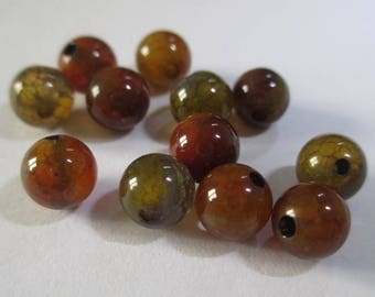 20 beads Crackle agate vein dragon color brown/orange/green 6mm (12 G)
