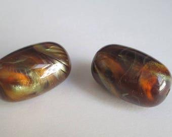 2 beads acrylic marble 27x16mm