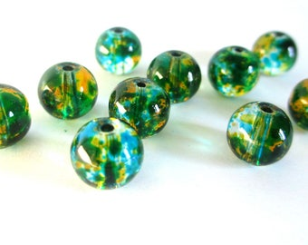 20 drawbench rust and blue transparent beads 8mm round glass