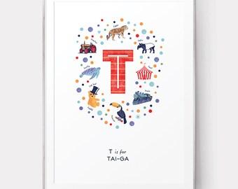 Monogram Initial T Name Print, Letter T Print, Baby Name Poster, Nursery Wall Art, Baby Boy Print, Nursery Decor, Personalised Kids Art