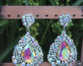 AB rhinestone earrings, large rhinestone yellow earrings, pageant/prom large yellow earrings