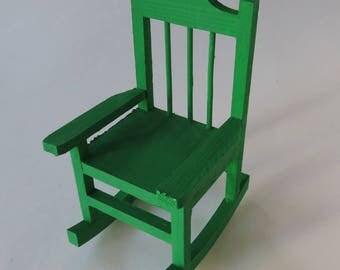 """Green Mini Rocking Chair, Painted Rocking Chair, Rocking Chair Home Decor, Country-style Decor, 5 1/2"""" Rocker, Ready To Ship"""