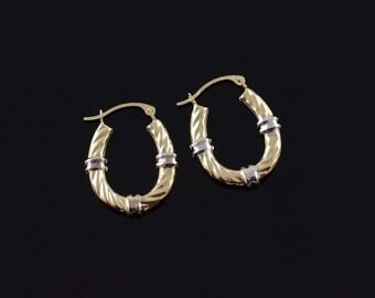 21mm Two Tone Banded Twist Hoop Earrings Gold