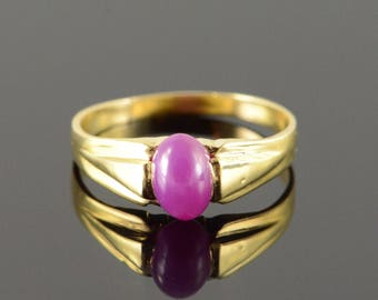 10k 1.00 CT Star Sapphire Ruby Synthetic Solitaire Ring Gold