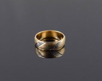 14k 6mm Twist Two Tone Wedding Band Ring Gold