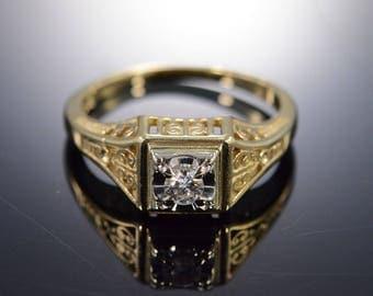 14k 0.15 Ct Round H/I1 Filigree Diamond Engagement Ring Gold