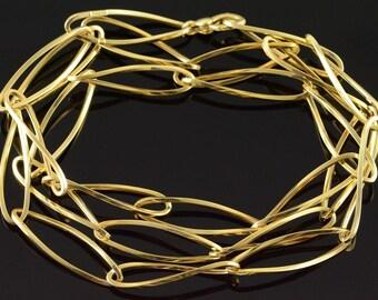 "14k Loose Link Hollow Hoop Fancy Necklace Gold 31.75"""