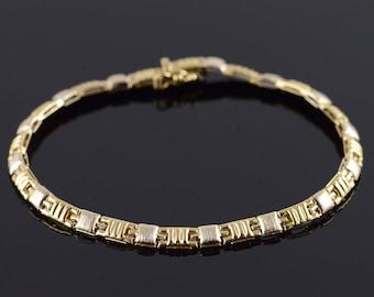 """14k Two Tone Textured Fancy Bracelet Gold 7"""""""