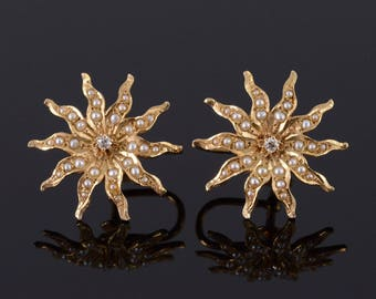 14k Victorian Seed Pearl Diamond Sun Screw Back Earrings Gold